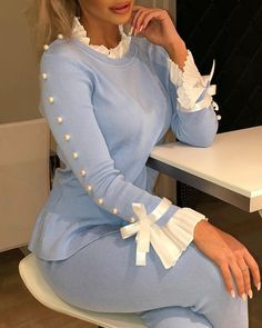 Women Beading Long Sleeve T Shirt Bowknot Buttoned Bell Cuff Tops Spring Light Blue Elegant Casual Bluas Mujer, Sky blue / XL Sleeves Designs For Dresses, Sleeve Designs, Trend Fashion, Womens Fashion, Fashion Top, Fashion 2020, Fall Fashion, Fashion Online, Style Fashion