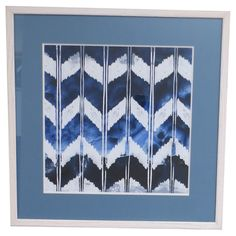 The Bassett Mirror Company Indigo Impressions I Wall Art boasts bold chevron stripes in tones of white, light blue, and indigo that add a vibrant. Paint Colors For Home, House Colors, Nursery Collage, Navy Blue Walls, Mirror Painting, White Leaf, Contemporary Wall Art, Wood Wall Decor, Watercolor Art