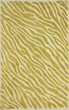 Elegance Cotton Zebra Print Gold Rug