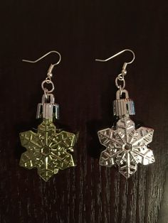 Christmas Holiday Earrings Snowflakes Dangle by CatDKnits on Etsy