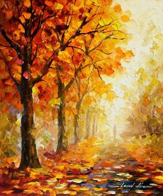 Painting For Home Orange Wall Art On Canvas By Leonid Afremov - Symbols Of Autumn - kunst Autumn Painting, Autumn Art, Oil Painting On Canvas, Canvas Art, Painting Tips, Orange Painting, Painting Techniques, Canvas Ideas, Beginner Oil Painting