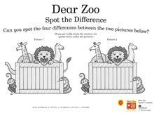 Dear Zoo Spot the Difference Dear Zoo Activities, Book Activities, Preschool Activities, Zoo Preschool, Prek Literacy, Dear Zoo Party, Zoo Animal Crafts, Zoo Crafts, Story Sack