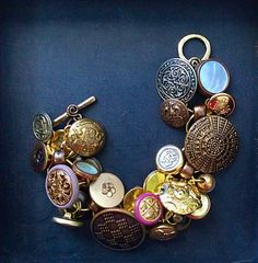 1980's Vintage Button Charm Bracelet by LiddoTreasureShop on Etsy, $24.99