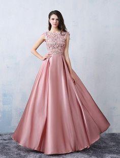 Chic A-line Scoop Pink Satin Applique Modest Prom Dress Evening Dress AM398