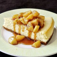 Maple Apple Cheesecake - one fantastic fall dessert with sweet maple sauteed apples atop a creamy, perfectly baked vanilla cheesecake. Some great tips for baking the perfect cheesecake are also included.