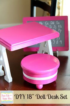 1. Supplies: 2 letter A's, chalkboard, white paint pen, stand, pink spray paint, wooden round box, wooden plaque, round balls, and felt. We also used E6000 glue to hold it all together. Exact dimensions of the one pictured: plaque (9×7 inches), Letter A (5.5 inches), and stool is 6 inches wide and 2.5 inches tall …