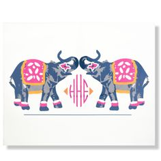 Elephants March Monogrammed Print - perfect for a little girl's bedroom!
