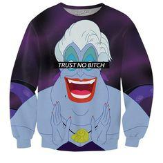 Trust No Bitch Ursula Sweatshirt ($60) ❤ liked on Polyvore featuring tops, hoodies, sweatshirts, blue top and blue sweatshirt