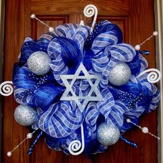 Items similar to Hanukkah Wreath with Star of David Example Only on Etsy Wreaths are not just for Christmas. Feliz Hanukkah, Hanukkah Crafts, Jewish Crafts, Hanukkah Decorations, Christmas Hanukkah, Hannukah, Happy Hanukkah, Christmas 2019, Table Decorations