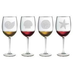 """Showcasing a hand-etched sea life motif, this essential wine glass is perfect for offering a favorite vintage at your next soiree or enjoying a crisp chardonnay with dinner.   Product: Set of 4 wine glassesConstruction Material: GlassColor: ClearFeatures:  Sand-etched by handMade in the USA   Dimensions: 9"""" H x 3"""" Diameter Cleaning and Care: Dishwasher safe"""