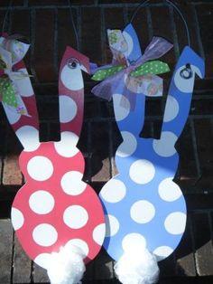 Wooden Bunnies for door