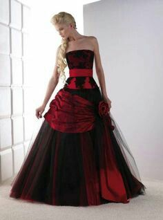 Vintage Black and Red Gothic Wedding Dresses Strapless Lace Tulle Corset Back Non White Bridal Gowns Colored Couture Custom Made Ball Dresses, Cute Dresses, Beautiful Dresses, Ball Gowns, Dresses 2016, Summer Dresses, Long Dresses, Dresses Online, Prom Dresses