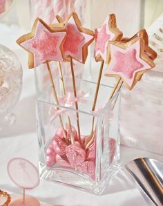 Daddys Little Princess Pink First Birthday Party- adorable pink magic wand cookies