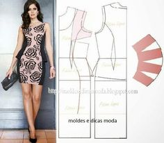 Moldes Moda por Medida: Vestidos - pattern Fashion for Measure: Dresses Sewing Dress, Diy Dress, Sewing Clothes, Peplum Dress, Diy Clothing, Clothing Patterns, Dress Patterns, Fashion Sewing, Diy Fashion
