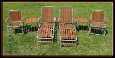 Vintage 60's 6 Piece Redwood Chairs Patio Furniture Lounge Set - MINT Never Used