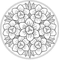 Mandala for painting flowers Flower Coloring Pages, Mandala Coloring Pages, Coloring Book Pages, Printable Coloring Pages, Coloring Sheets, Floral Embroidery Patterns, Embroidery Designs, Wool Embroidery, Simple Embroidery