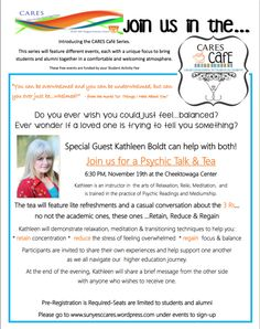 Like us on facebook! This event has been rescheduled for Wednesday, December 2nd at 6:30PM  at the Cheektowaga Center.  Pre-Registartion is required.  CARES Cafe Presents Psychic Talk & Tea wit...