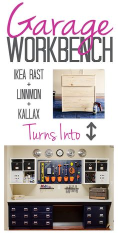 Have a spare chest of drawers hanging around? Turn 'em into a workbench. | 38 Borderline Genius Ways To Organize Your Garage