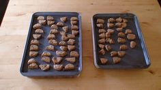 Homemade Treats For Pups (And Persons)  2 cups whole wheat flour  1/2 cup cornmeal  2/3 cup beef broth from bouillon  1/2 cup peanut butter  6 tablespoons vegetable oil  1 tablespoon molasses  1 egg  Mixing bowls  Wooden spoon  Cutting board  Knife  Baking pan  Oven  Step 1: Preheat 350° F.  Step 2: Mix dry ingredients in one bowl: mix the wet in another Step 3: Combine the wet & dry in one bowl, knead and fold well blended.  Step 4: Roll out cut greased baking pan Step 5: Bake 350° - 35…