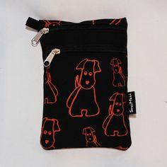 Kännykkä-kukkaro, Koirat, musta - SeriMeri Handprinted  Mobilebag