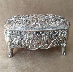 Jewelry Casket Silver Plate Large Trinket Box Silver By DotnBettys