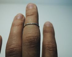 simple silver stacking ring, thin hammered minimal look