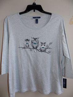 NEW Karen 1X Scott womens 3/4 sleeve top 3 Owl-print 100% cotton #KarenScott #Pullover