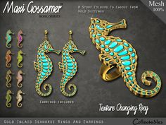 Maxi Gossamer Rings and Earrings - Gold Inlaid Seahorse