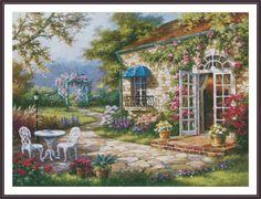 Cross Stitch Pattern Spring Patio Nature by ZAnnaCrossStitch