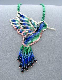 Seed Beaded Hummingbird, Beadwork Necklace, Art Jewelry, Hummingbird Necklace.