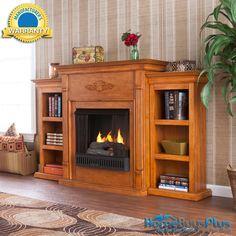Tennyson Plantation Oak Gel Fireplace W/ Bookcases Media Tv Stand.  $649.99