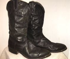 VTG Durango Black Leather Cowboy Biker Boots Toe Tips 13D SW540  | eBay