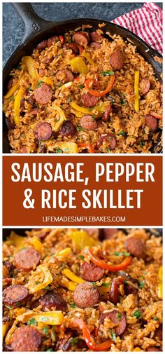 Sausage, Pepper and Rice Skillet Smoky kielbasa sizzled with sweet bell pepper, onions and garlic in vibrant tomato sauce. This quick and easy sausage, pepper and rice skillet is downright delicious! Sausage Recipes For Dinner, Smoked Sausage Recipes, Pork Recipes, Healthy Recipes, Polish Sausage Recipes, Rice Recipes, Recipies, Dinner Recipes With Rice, Cool Dinner Ideas