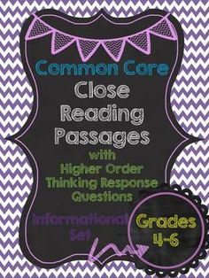 12 passages for Close Reading in Grades 4-6 with High Order Thinking Response Questions! *Could be an option for Standards Based Reporting* $