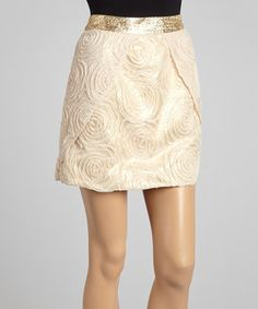 Another great find on #zulily! 2b.RYCH Gold & Cream Rosette Skirt by 2b.RYCH #zulilyfinds