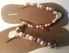 Beaded Flip flops Decorated flip Flops with por JewelsForYourFeet