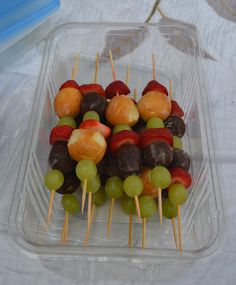 Doughnut hole and fruit kabobs. Easy, portable, utensil-less, delicious breakfast!