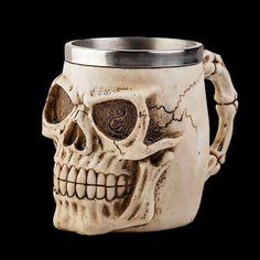 Halloween 3D Skull Mug Stainless steel resin material Personality wine glass