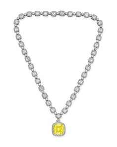 An important colored diamond and diamond pendant necklace, by Tiffany & Co. Diamond Solitaire Necklace, Diamond Pendant Necklace, Diamond Jewelry, Bijoux Design, Jewelry Design, Necklace Box, Cushion Cut Diamonds, Family Jewels, Diamond Are A Girls Best Friend