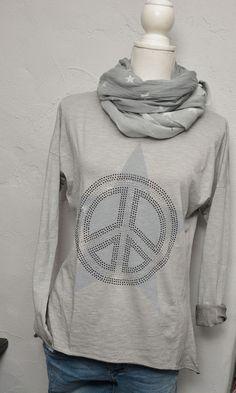 Lindsay Moda Shirt T-Shirt hell grau Nieten Stern peace grau Longshirt 38 40