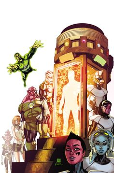 """GREEN LANTERN CORPS #37 Written by VAN JENSEN Art and cover by BERNARD CHANG Variant cover by DARWYN COOKE On sale DECEMBER 10 • 32 pg, FC, $2.99 US RATED T """"Godhead,"""" act 3, part 2: John Stewart leads an army of Lanterns of every color in an assault on New Genesis! Getting to the New Gods' home was nearly impossible – and battling them will be worse! The universe is counting on the multi-colored Corps, but its true hopes may depend on a select few…without rings?"""