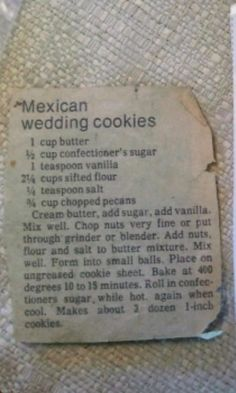 The Snowball/Mexican Wedding Cookie recipe my grandma always made for Christmas. They're my favorite Christmas cookie ever!