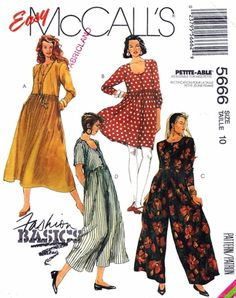 Jumpsuit PATTERN long or short McCall's 5666 Very Loose fitting dress or jumpsuit gathered skirt wide legged pants Cut Complete pattern by on Etsy Easy Sewing Patterns, Mccalls Sewing Patterns, Vintage Sewing Patterns, Clothing Patterns, Dress Patterns, Vogue Patterns, Pretty Patterns, Fashion Pattern, Jumpsuit Pattern