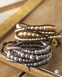 Chan Luu pearl and leather bracelets  http://www.how-to-make-jewelry.com/how-to-create-a-beaded-leather-wrap-bracelet.html