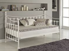 Seville Metal #Daybed white  Elegant and stylish, our day bed is a great sleeping and seating solution for your bedroom. Our stunning vintage inspired bed is the perfect choice for your home. Bed frame only & Self assembly  http://www.lakeland-furniture.co.uk/seville-day-bed-notrundle-white.html