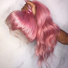 Buy Pastel Pink Hair Full Lace Wigs Natural Straight at WowEbony density, Chinese Virgin Hair, Our Human Hair Full Lace wigs are of super quality. Black Girl Curly Hairstyles, Black Curly Hair, Pretty Hairstyles, Straight Hairstyles, Curly Hair Styles, Summer Hairstyles, Pink Wig, Hair Color Pink, Frontal Hairstyles