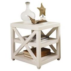 "Distressed end table with openwork sides.   Product:  End table Construction Material: Wood      Color: Distressed white   Features: Rectangular shape              Dimensions: 25"" H x 22"" W x 25"" D  Note: Assembly required"