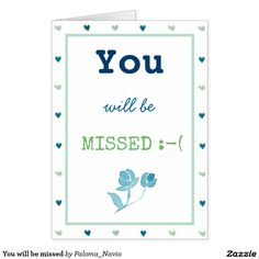 You will be missed greeting card Paloma Navio