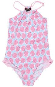 Seashells in Pink on Light Blue Swimsuit for Girls