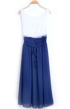 Blue White Sleeveless Sashes Pleated Chiffon Dress - Sheinside.com